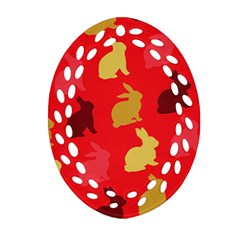 Hare Easter Pattern Animals Ornament (oval Filigree) by Amaryn4rt