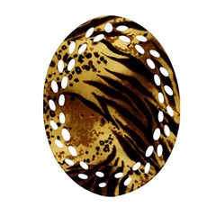 Pattern Tiger Stripes Print Animal Oval Filigree Ornament (two Sides) by Amaryn4rt