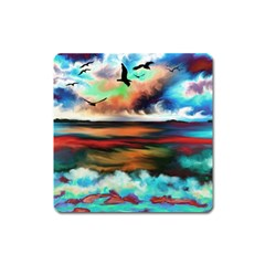 Ocean Waves Birds Colorful Sea Square Magnet by Amaryn4rt