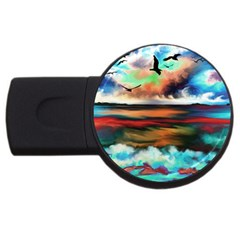 Ocean Waves Birds Colorful Sea USB Flash Drive Round (4 GB) by Amaryn4rt