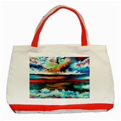 Ocean Waves Birds Colorful Sea Classic Tote Bag (red) by Amaryn4rt
