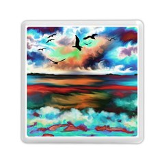 Ocean Waves Birds Colorful Sea Memory Card Reader (square)