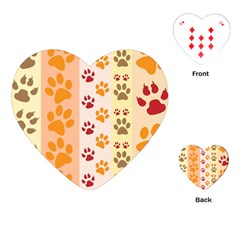 Paw Print Paw Prints Fun Background Playing Cards (heart)  by Amaryn4rt