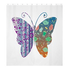 Vintage Style Floral Butterfly Shower Curtain 66  X 72  (large)  by Amaryn4rt