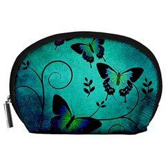 Texture Butterflies Background Accessory Pouches (large)