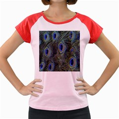 Peacock Feathers Blue Bird Nature Women s Cap Sleeve T Shirt by Amaryn4rt