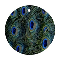 Peacock Feathers Blue Bird Nature Round Ornament (two Sides) by Amaryn4rt