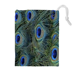 Peacock Feathers Blue Bird Nature Drawstring Pouches (extra Large) by Amaryn4rt