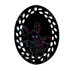 Easter Bunny Hare Rabbit Animal Ornament (oval Filigree) by Amaryn4rt