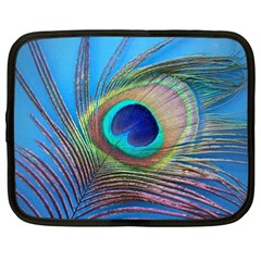 Peacock Feather Blue Green Bright Netbook Case (xl)  by Amaryn4rt