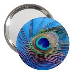 Peacock Feather Blue Green Bright 3  Handbag Mirrors