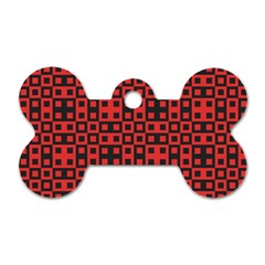 Abstract Background Red Black Dog Tag Bone (one Side)