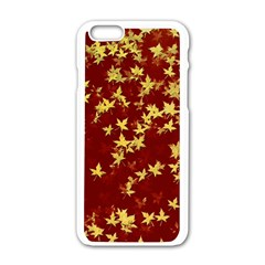 Background Design Leaves Pattern Apple Iphone 6/6s White Enamel Case by Amaryn4rt