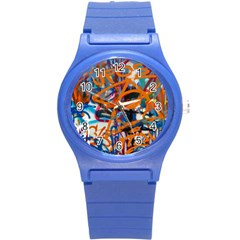 Background Graffiti Grunge Round Plastic Sport Watch (s) by Amaryn4rt