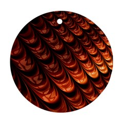 Brown Fractal Mathematics Frax Round Ornament (two Sides) by Amaryn4rt