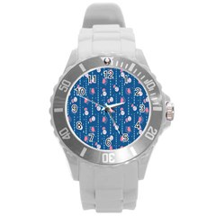 Pig Pork Blue Water Rain Pink King Princes Quin Round Plastic Sport Watch (l) by Alisyart