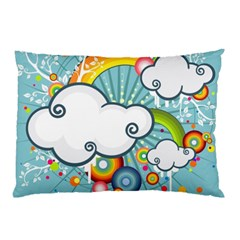 Rainbow Clouds Tree Circle Orange Pillow Case by Alisyart