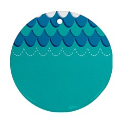 Sea Wave Blue Water Beach Ornament (round)