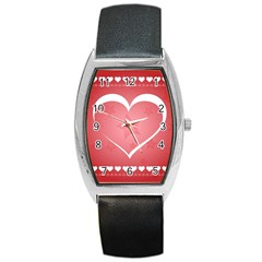 Postcard Banner Heart Holiday Love Barrel Style Metal Watch by Amaryn4rt