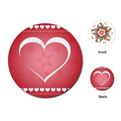 Postcard Banner Heart Holiday Love Playing Cards (round)  by Amaryn4rt
