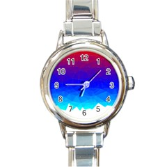 Gradient Red Blue Landfill Round Italian Charm Watch