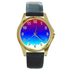 Gradient Red Blue Landfill Round Gold Metal Watch