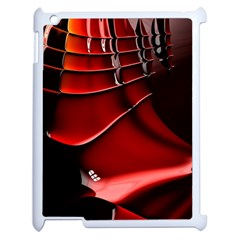 Red Black Fractal Mathematics Abstract Apple Ipad 2 Case (white) by Amaryn4rt