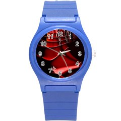 Red Black Fractal Mathematics Abstract Round Plastic Sport Watch (s)