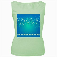 Desktop Banner Postcard Hearts Women s Green Tank Top