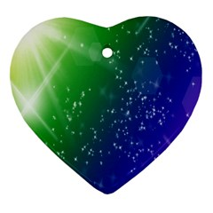 Shiny Sparkles Star Space Purple Blue Green Heart Ornament (two Sides) by Alisyart