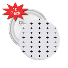 Sign Cross Plus Black 2 25  Buttons (10 Pack)  by Alisyart