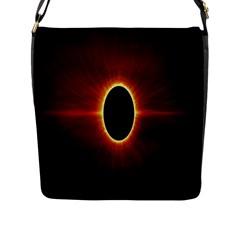 Solar Eclipse Moon Sun Black Night Flap Messenger Bag (l)  by Alisyart