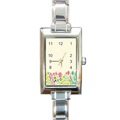 Spring Floral Flower Rose Tulip Leaf Flowering Color Rectangle Italian Charm Watch by Alisyart