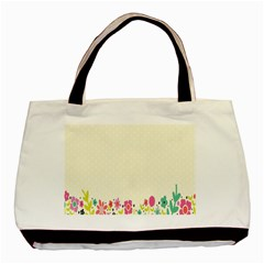 Spring Floral Flower Rose Tulip Leaf Flowering Color Basic Tote Bag (two Sides) by Alisyart