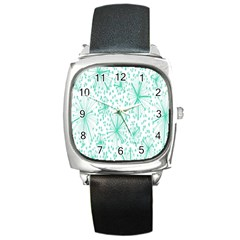 Spring Floral Green Flower Square Metal Watch by Alisyart