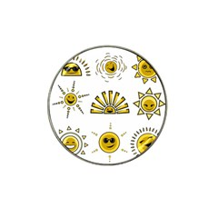 Sun Expression Smile Face Yellow Hat Clip Ball Marker (4 Pack) by Alisyart