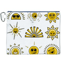 Sun Expression Smile Face Yellow Canvas Cosmetic Bag (xxxl) by Alisyart