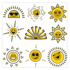 Sun Expression Smile Face Yellow Large Satin Scarf (square) by Alisyart