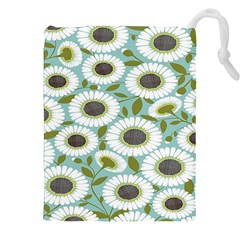 Sunflower Flower Floral Drawstring Pouches (XXL) by Alisyart