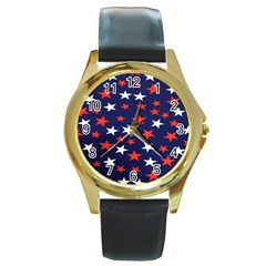 Star Red White Blue Sky Space Round Gold Metal Watch by Alisyart
