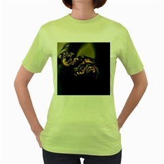 Fractal Mathematics Abstract Women s Green T Shirt