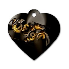 Fractal Mathematics Abstract Dog Tag Heart (two Sides) by Amaryn4rt