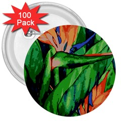 Flowers Art Beautiful 3  Buttons (100 Pack)  by Amaryn4rt
