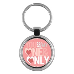 Valentines Day One Only Pink Heart Key Chains (round)  by Alisyart