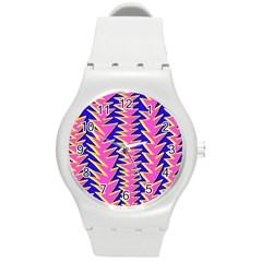 Triangle Pink Blue Round Plastic Sport Watch (m) by Alisyart