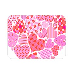 Valentines Day Pink Heart Love Double Sided Flano Blanket (mini)  by Alisyart