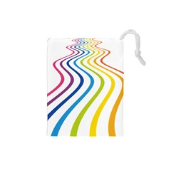 Wave Rainbow Drawstring Pouches (small)  by Alisyart
