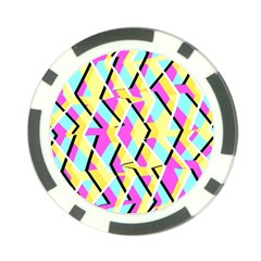 Bright Zig Zag Scribble Yellow Pink Poker Chip Card Guard by Alisyart