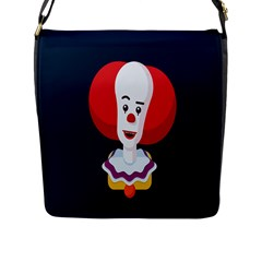 Clown Face Red Yellow Feat Mask Kids Flap Messenger Bag (l)  by Alisyart