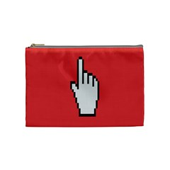 Cursor Index Finger White Red Cosmetic Bag (medium)  by Alisyart